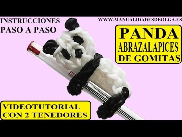 COMO HACER UN PANDA ABRAZALAPICES DE GOMITAS CON DOS TENEDORES. VIDEO TUTORIAL DIY FIGURA