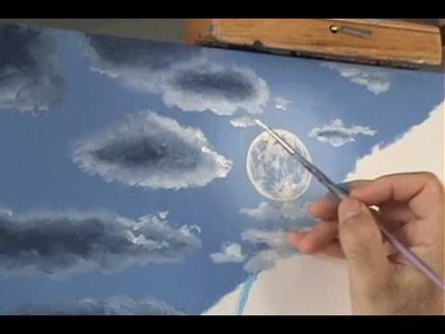 Cómo Pintar la luz de la luna un paisaje de noche y las nubes lección de pintura acrílico