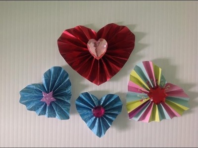CORAZONES DE PAPEL EN FORMA DE ACORDEON.- ACCORDION HEARTS.