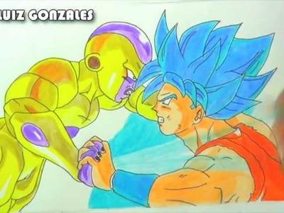 DIBUJANDO A GOLDEN FREEZER VS GOKU SSJ DIOS AZUL- [Drawing a SSJ God  Goku vs Golden Freezer]