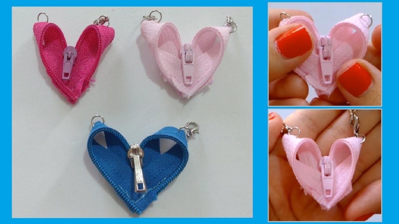 DIY Colgante corazón de cremallera- Zipper heart pendant
