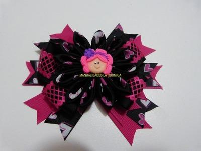 Flores  y moños en cinta combinada para el cabello paso  a paso. Manualidadeslahormiga