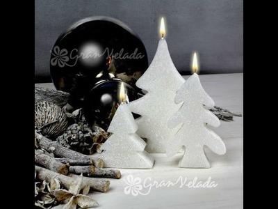 Hacer velas con forma de árbol de Navidad y efecto nevado.