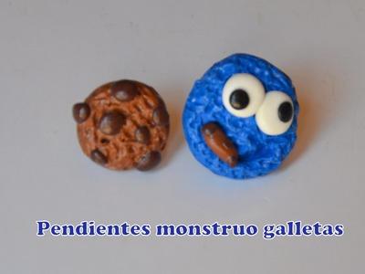 Pendientes monstruo galletas (arcilla polimerica) - Cookie monster