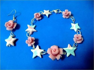Pulseras  rosas  de porcelana fría