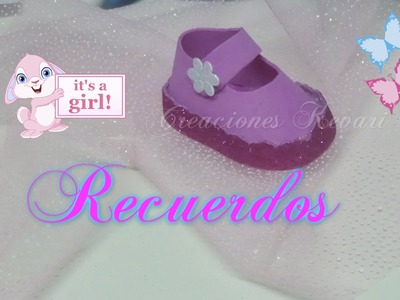 Recuerdo para Baby Shower Zapatito Foamy de Bebe Dulcero. Baby Shower Shoes