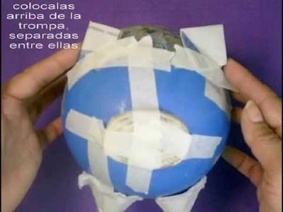 ALCANCIA DE PAPEL MACHE por EVELYN MENDEZ PORTUGUEZ
