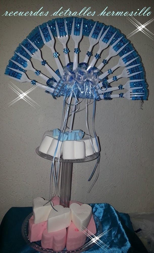 Centro de mesa abanico quince años azul