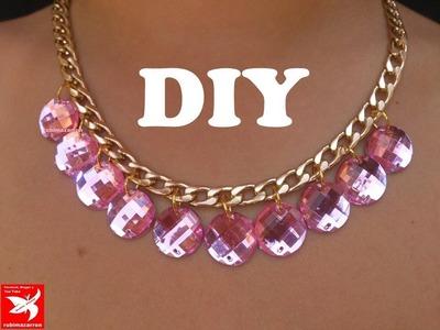Collar de cadena y cristales rosas. Necklace