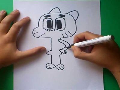 Como dibujar a Gumball paso a paso - El asombroso mundo de Gumball  | How to draw a Gumball