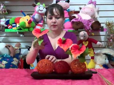 Como hacer un centro de mesa-facil y bonito con adornos. how to make a centerpiece with ornaments