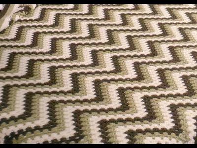 Como Tejer Colcha Con Puntada Zig Zag Tricolor a crochet