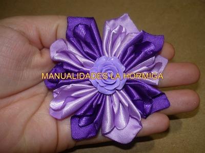 Flores faciles de tela  con dobleces para decoracion de moños No.143 manualidades la Hormiga