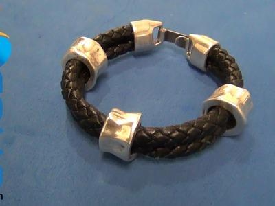 Hacer pulseras de cuero doble trenzado para hombre