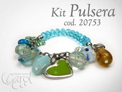 KIT 20753 Kit Pulsera Murano Aguamarina x und