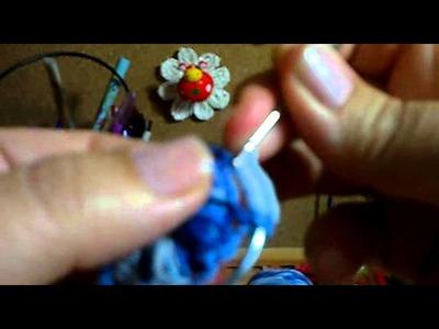 Pendiente con boton azul