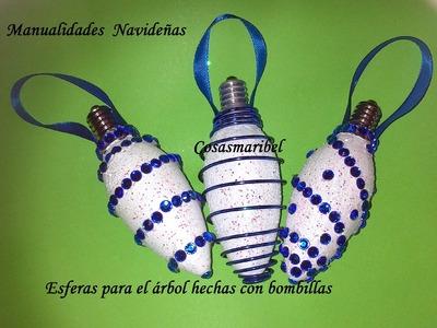 Adornos navideños.Esferas para el árbol hechas con bombillas