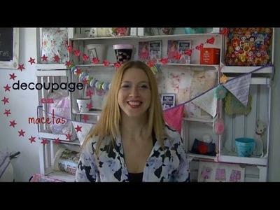 Como hacer decoupage y patinas en macetas ♥ Marina Capano