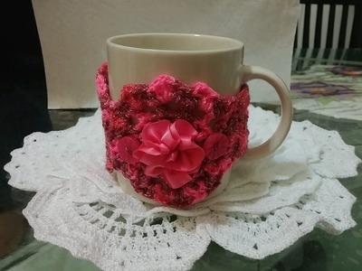 ☕Como hacer una cubierta ó decoración para tazas en crochet ☕