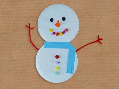 Manualidades navideñas. Muñeco de nieve con platos