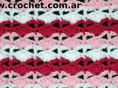 Punto Fantasía N°44 en tejido crochet tutorial paso a paso.
