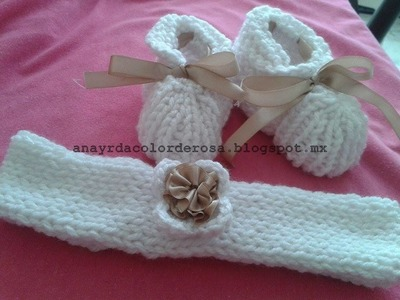 Zapatos y banda para el cabello para bebe tejidos a dos agujas 1.2