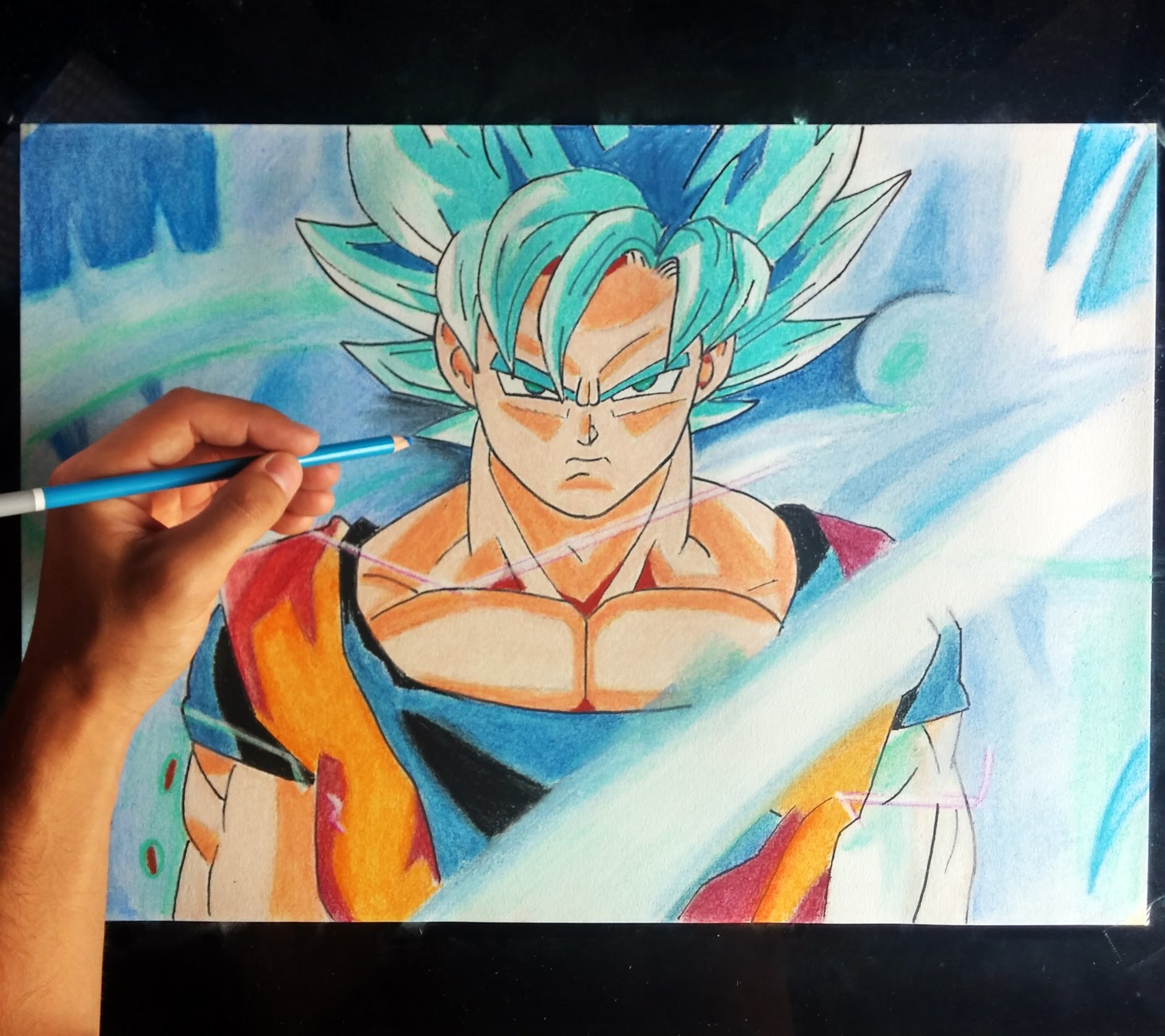Cómo dibujar a Goku SSJ en Fase DIOS azul | How to draw goku blue god super