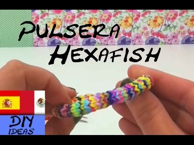 Como hacer PULSERA HEXAFISH con dos tenedores how to make a rainbow loom Hexafishtail