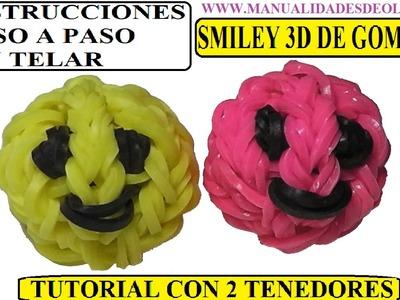 COMO HACER UNA CARITA FELIZ 3D (SMILEY 3D CHARM) SIN TELAR, CON DOS TENEDORES