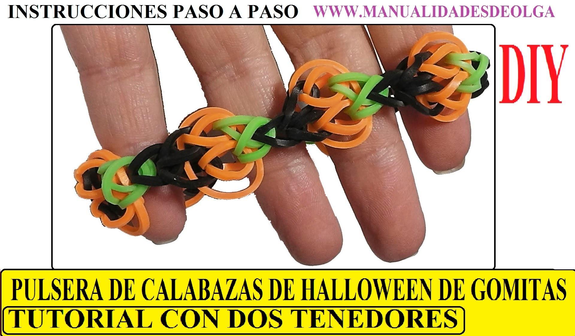 COMO HACER UNA PULSERA DE CALABAZAS DE HALLOWEEN DE GOMITAS CON DOS TENEDORES. SIN TELAR. TUTORIAL