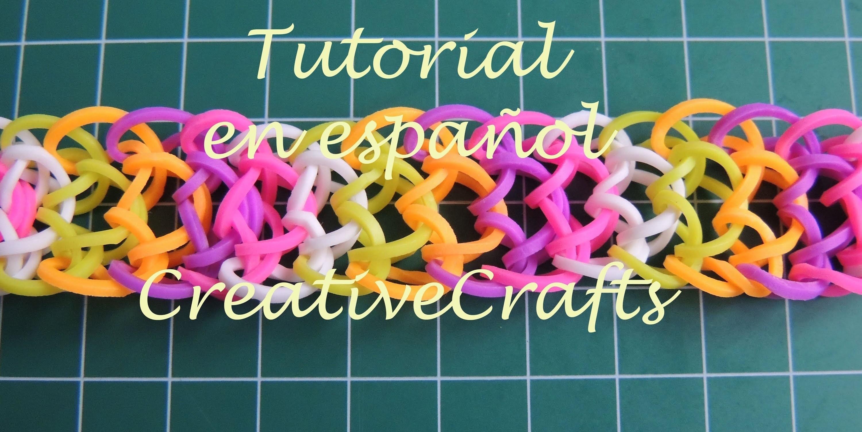 Como hacer una pulsera escamas de dragón de gomitas SIN TELAR. Rainbow Loom Bracelet Dragon.