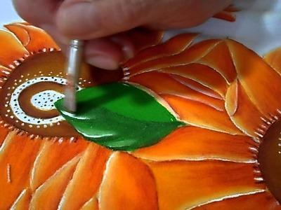 Mantel de girasoles con pintura textil (Hojas y tallos, parte 3.4)