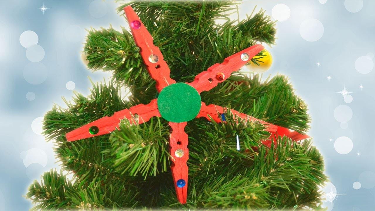 Manualidad de estrella de Navidad para decorar el árbol