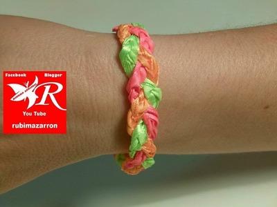 Pulsera trenzada fluorescente ( muy facil y juvenil )