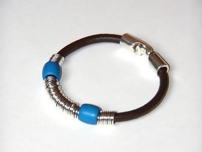 Abalorios Bisuteria - Realizar pulsera de cuero con anillas