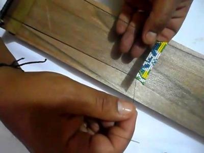 Como hacer el escudo del Brasil en pulsera con mostacilla.No. 1