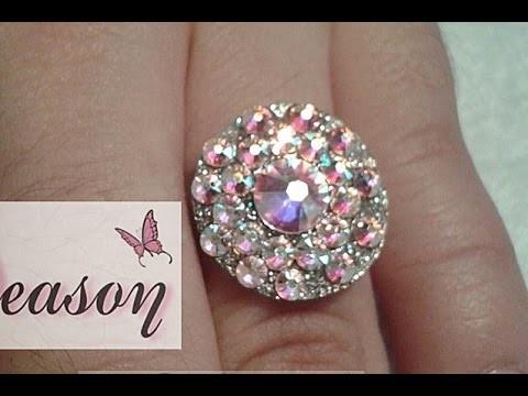 Como hacer joya de acrilico con cristales paso a paso. aro con cristales para anillo