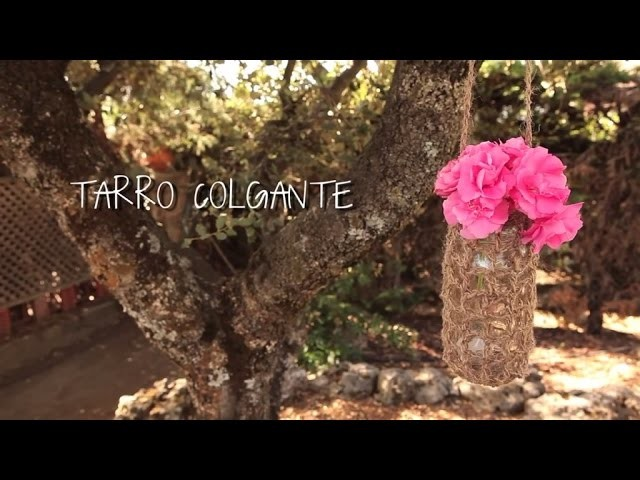 Cómo hacer un tarro colgante de ganchillo | How to make a crocheted hanging jar