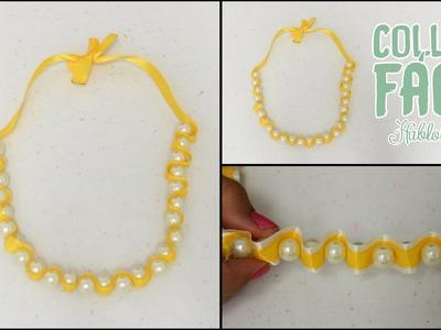 DIY Collar con Perlas y Listones. CREA TUS ACCESORIOS DE MODA - Hablobajito