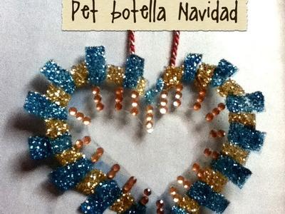 DIY Corazón de botella Pet árbol de Navidad decoración ornament christmas tree