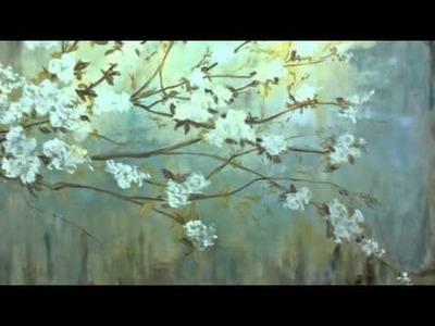 Pintura de un motivo floral al óleo