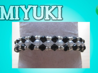 Pulsera con tupis y perlas B.N | Miyuki | DIY
