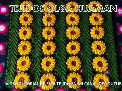 Tejido en crochet video 1 : hojas con flores, como hacer la hoja