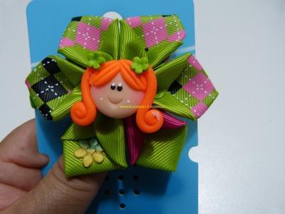 Tutorial gratis moños flores en cintas para el cabello paso a paso.  Manualidadeslahormiga