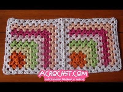 Uniendo dos medios grannies partiendo de un granny en crochet