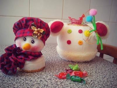 Cómo convertir un FRASCO RECICLADO en un lindo dulcero de Muñeco de Nieve
