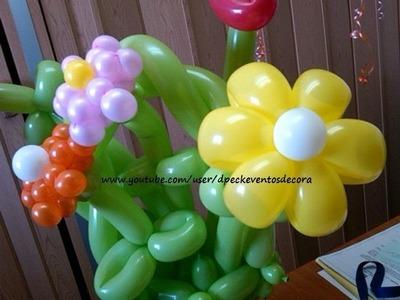 Como hacer Flor margarita de globos - daisy flower balloons - Tutorial globoflexia