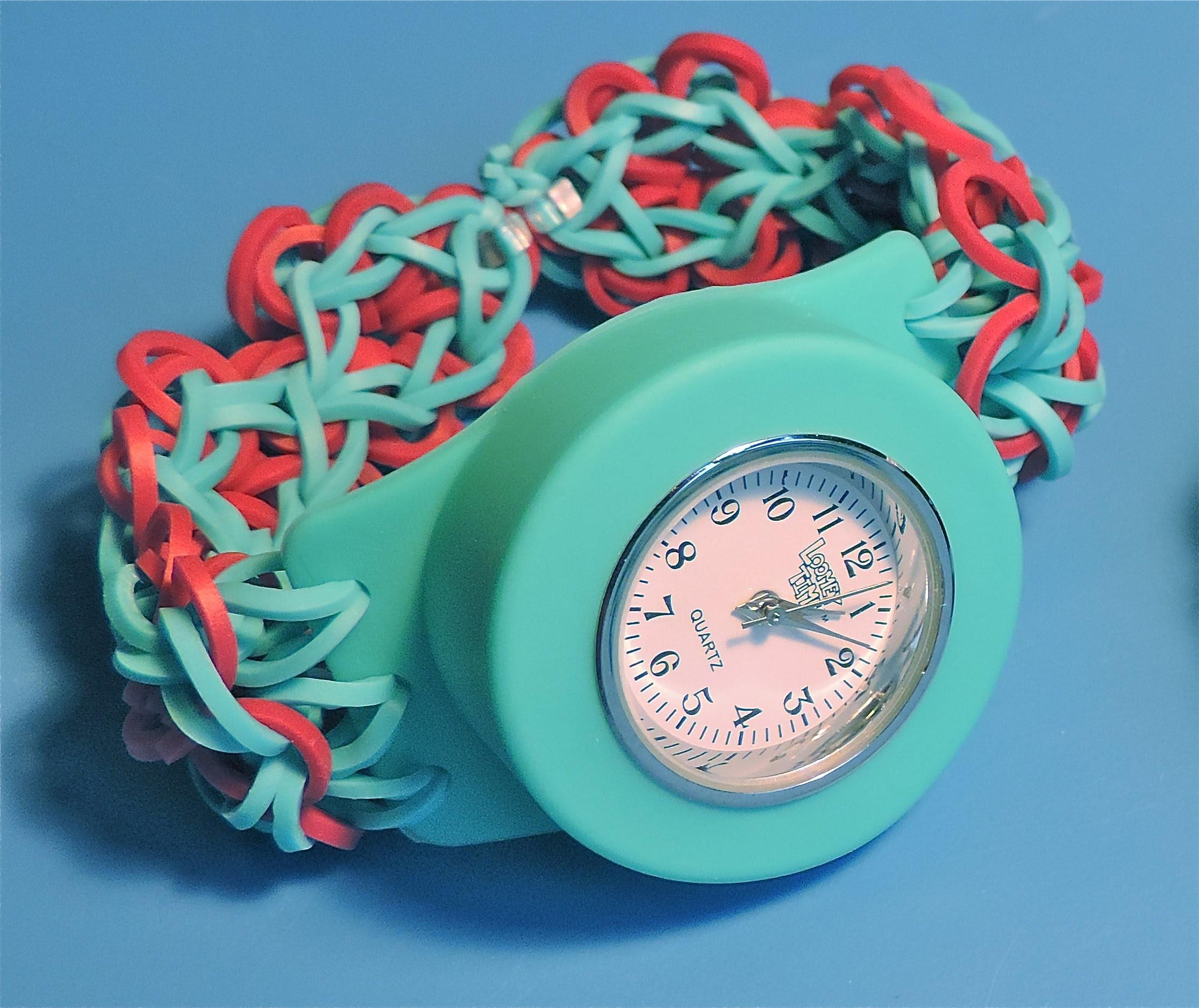 Cómo hacer una correa Flower Power para el Reloj Loomey Time (con el Rainbow Loom)