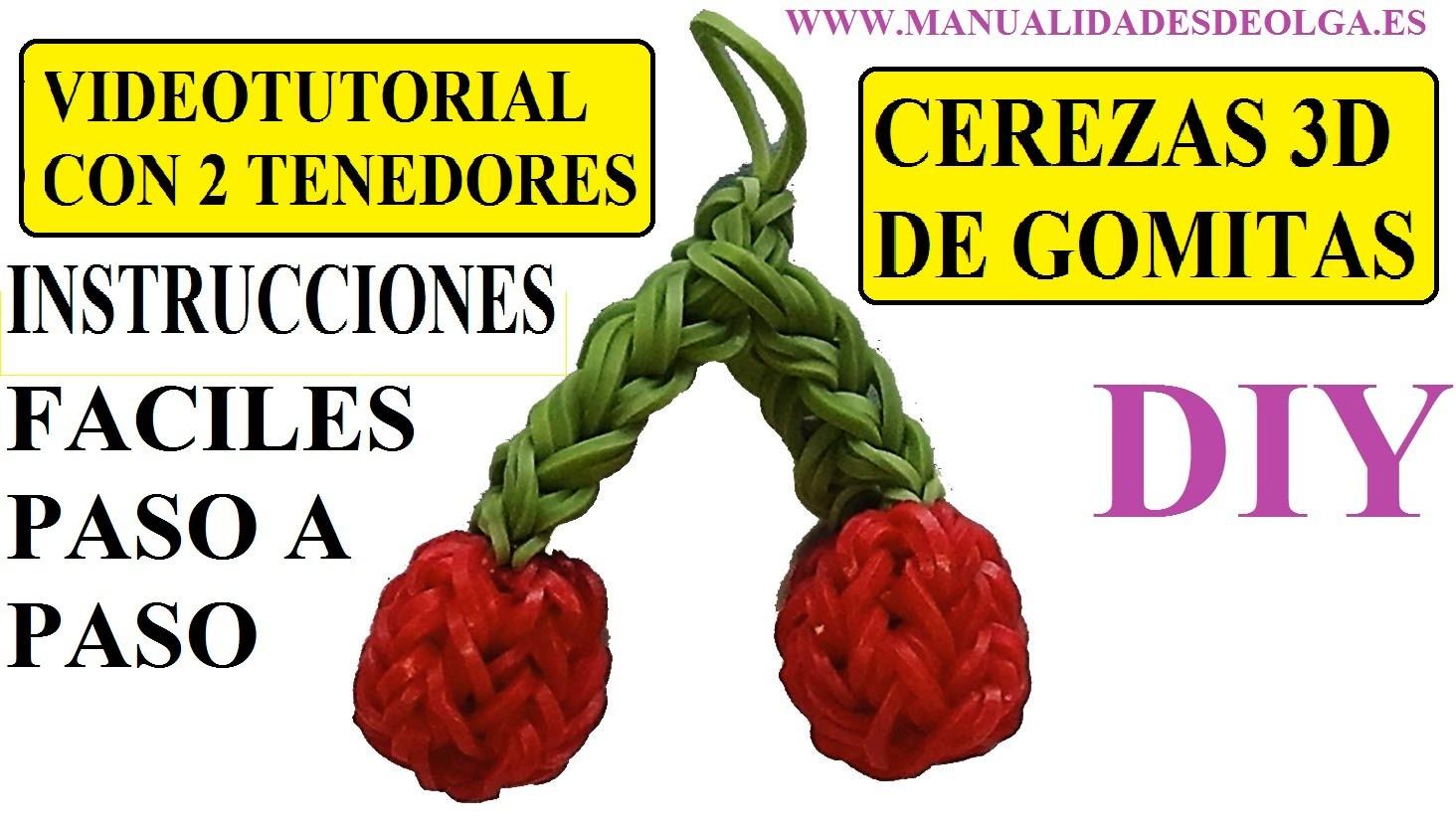 COMO HACER UNAS CEREZAS 3D DE GOMITAS (LIGAS) CON DOS TENEDORES. VIDEOTUTORIAL (CHERRY CHARM)