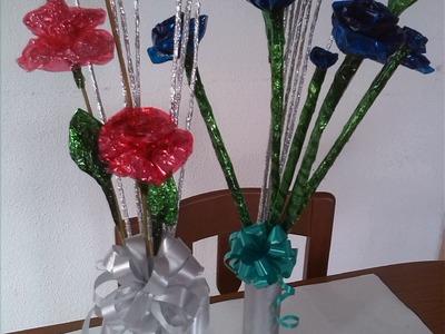 Flores Aluminio y celofan!!!